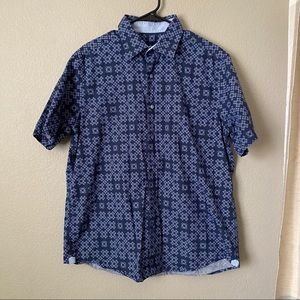 Tasso Elba Blue Dots Button Down Shirt Large